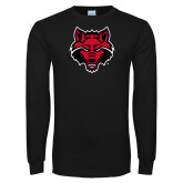 Black Long Sleeve TShirt-Red Wolf Head
