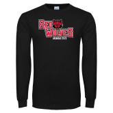 Black Long Sleeve TShirt-Red Wolves Stacked Head Centered