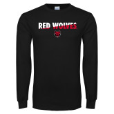Black Long Sleeve TShirt-Red Wolves Two Tone