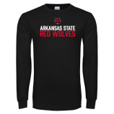 Black Long Sleeve TShirt-Arkansas State Red Wolves Stacked Block