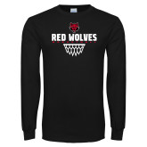 Black Long Sleeve TShirt-Basketball Sharp Net
