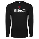Black Long Sleeve TShirt-Basketball Stacked Text