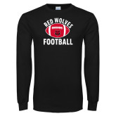 Black Long Sleeve TShirt-Football Distressed Ball