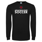 Black Long Sleeve TShirt-Soccer Stacked Text