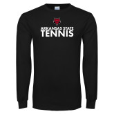 Black Long Sleeve TShirt-Tennis Stacked Text