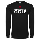 Black Long Sleeve TShirt-Golf Stacked Text