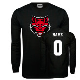 Black Long Sleeve TShirt-Red Wolf Head, Custom Tee w/ Name and #