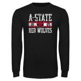 Black Long Sleeve T Shirt-Distressed Block