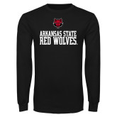 Black Long Sleeve T Shirt-Arkansas Red Wolves Stacked w Wolf Head