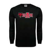 Black Long Sleeve TShirt-Red Wolf Head w/A State