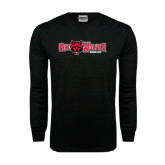 Black Long Sleeve TShirt-Red Wolves w/Red Wolf Head Centered