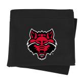 Black Sweatshirt Blanket-Red Wolf Head