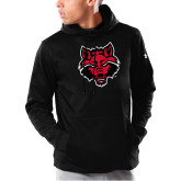 Under Armour Black Armour Fleece Hoodie-Red Wolf Head