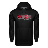 Under Armour Black Performance Sweats Team Hoodie-Red Wolf Head w/A State