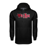 Under Armour Black Performance Sweats Team Hood-Red Wolf Head w/A State