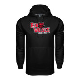 Under Armour Black Performance Sweats Team Hood-Red Wolves Stacked Head Centered