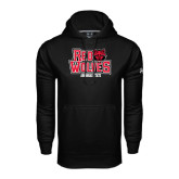 Under Armour Black Performance Sweats Team Hood-Red Wolves Stacked Head on Right