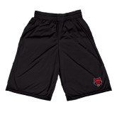 Midcourt Performance Black 9 Inch Game Short-Red Wolf Head