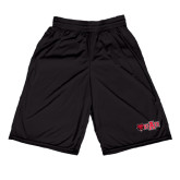 Midcourt Performance Black 9 Inch Game Short-Red Wolf Head w/A State