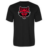 Syntrel Performance Black Tee-Red Wolf Head