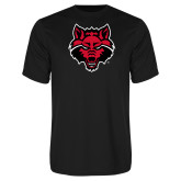 Performance Black Tee-Red Wolf Head