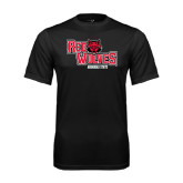Syntrel Performance Black Tee-Red Wolves Stacked Head Centered