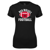 Ladies Syntrel Performance Black Tee-Football Distressed Ball