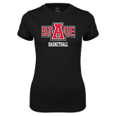 Ladies Syntrel Performance Black Tee-Basketball