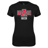 Ladies Syntrel Performance Black Tee-Soccer