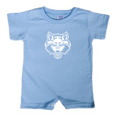 Light Blue Infant Romper-Red Wolf Head