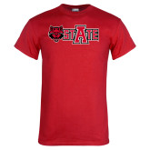 Red T Shirt-Red Wolf Head w/A State