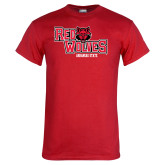 Red T Shirt-Red Wolves Stacked Head Centered