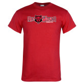 Red T Shirt-Red Wolves w/Red Wolf Head Centered