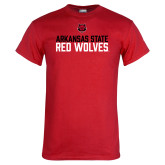 Red T Shirt-Arkansas State Red Wolves Stacked Block