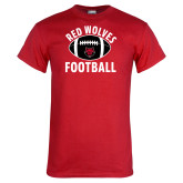 Red T Shirt-Football Distressed Ball
