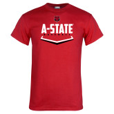 Red T Shirt-Baseball Abstract Plate