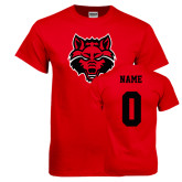 Red T Shirt-Red Wolf Head, Custom Tee w/ Name and #