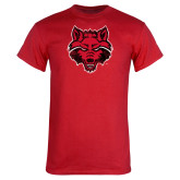 Red T Shirt-Red Wolf Head Distressed