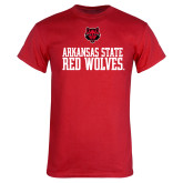 Red T Shirt-Arkansas Red Wolves Stacked w Wolf Head