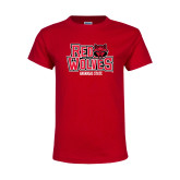 Youth Red T Shirt-Red Wolves Stacked Head on Right