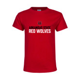 Youth Red T Shirt-Arkansas State Red Wolves Stacked Block