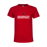 Youth Red T Shirt-Basketball Stacked Text