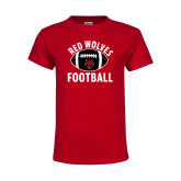 Youth Red T Shirt-Football Distressed Ball