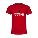 Youth Red T Shirt-Football Stacked Text