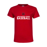 Youth Red T Shirt-Baseball Stacked Text