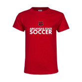 Youth Red T Shirt-Soccer Stacked Text
