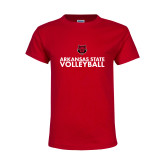 Youth Red T Shirt-Volleyball Stacked Text