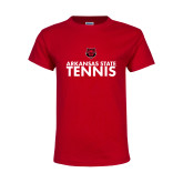Youth Red T Shirt-Tennis Stacked Text