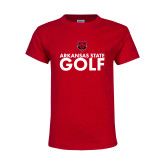 Youth Red T Shirt-Golf Stacked Text