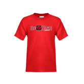 Youth Red T Shirt-Red Wolves w/Red Wolf Head Centered